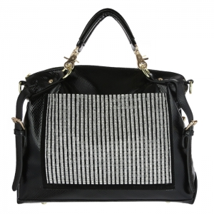 Luxury Faux Leather Matrix Handbag Beautiful Rhinestone Accent 33290 - Black