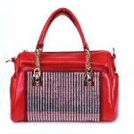 Luxury Fuax Leather Matrix Handbag Beautiful Rhinestone Accent - Red