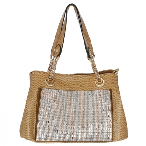 Luxury Faux Leather Matrix Handbag Beautiful Rhinestone Accent 33298 - Khaki