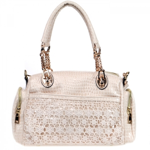 Vegan Leather Matrix Style Handbag with Snake Patten Accent - Biege