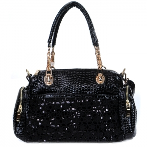 Vegan Leather Matrix Style Handbag with Snake Patten Accent - Black
