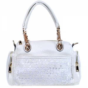 Vegan Leather Matrix Style Handbag with Snake Patten Accent - White
