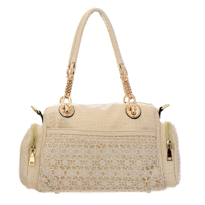Vegan Leather Matrix Handbag with Snake Pattern Accent 33309 - Beige