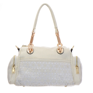 Vegan Leather Matrix Handbag with Snake Pattern Accent 33309 - White