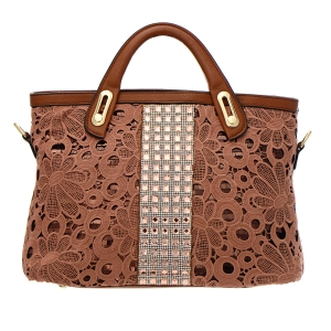 Vegan Leather Matrix Style Handbag with Flower Lace Patten Accent 33312 - Brown