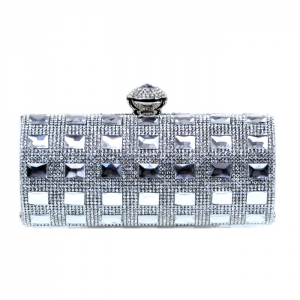 Elegant Matrix Evening Clutch Rhinestone Accent - Silver