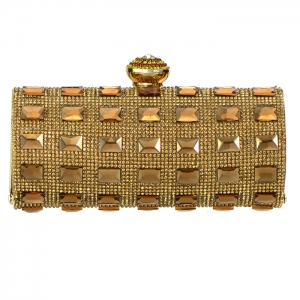 Elegant Matrix Evening Clutch Rhinestone Accent 33324 - Gold