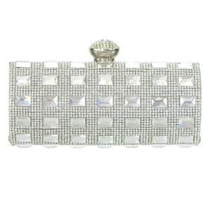 Elegant Matrix Evening Clutch Rhinestone Accent 33324 - Silver