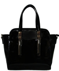 Faux Patten Leather Original David Jones Handbag - Black