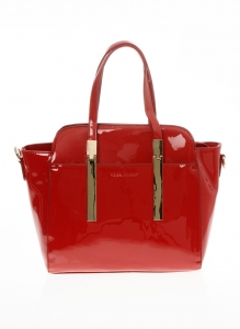 Faux Patten Leather Original David Jones Handbag - Red