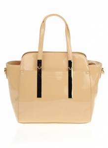 Faux Patten Leather Original David Jones Handbag - Sand