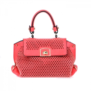"Original Vegan Leather Compact Handbag "" Gisella""- Coral"