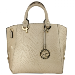 Embossed Patent Faux Zebra Skin Tote Bag Metal Accents 33464 - Beige