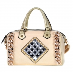 Faux Leather, Crocodile Accent with Chain and Rhinestones, Multi-Strap - Beige