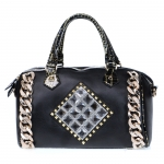 Faux Leather, Crocodile Accent with Chain and Rhinestones, Multi-Strap - Black