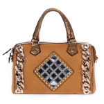 Faux Leather, Crocodile Accent with Chain and Rhinestones, Multi-Strap - Brown