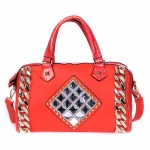 Faux Leather, Crocodile Accent with Chain and Rhinestones, Multi-Strap - Red