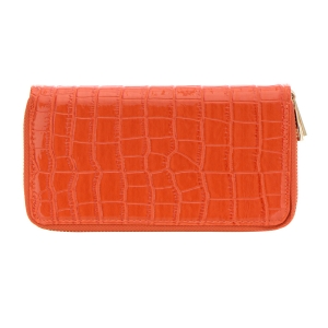 Patent Leather Animal Skin Wallet 33489 - Orange