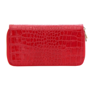 Patent Leather Animal Skin Wallet 33489 - Red