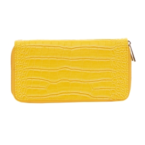Patent Leather Animal Skin Wallet 33489 - Yellow
