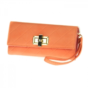 Gold Clasp Faux Leather Diamond Texture Rhinestone Accent Wallet with Wristlet and Strap 33493 - Peach
