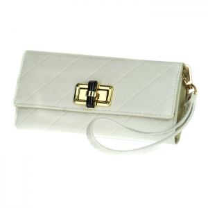 Gold Clasp Faux Leather Diamond Texture Rhinestone Accent Wallet with Wristlet and Strap 33493 - Ivory
