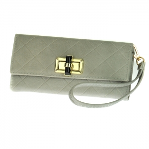 Gold Clasp Faux Leather Diamond Texture Rhinestone Accent Wallet with Wristlet and Strap 33493 - Taupe