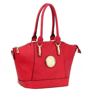 Faux Leather Handbag 33545 - Red