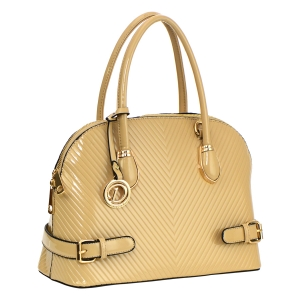 Ridge Design Patent Leather Handbag 33573 - Taupe
