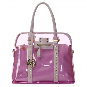 Designer Inspired Clear Plastic Studded Double Tote Bag 33608 - Lavender