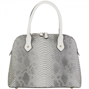Faux Snake Skin Handbag Tote 33667 - Black and White
