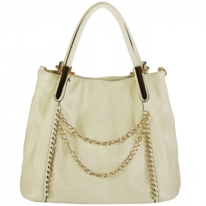 Designer Faux Leather Chain Accent Handbag 33689 - White