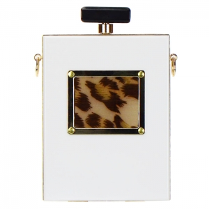 Hardshell Leopard Print Clutch Purse 33698 - White