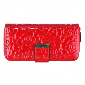 Flower Embossed Genuine Patent Leather Wallet 33720 - Red