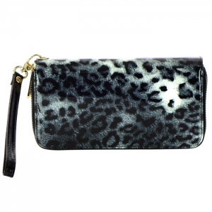 Double Zipper Leopard Print Genuine Patent Leather Wallet 33724 - Black