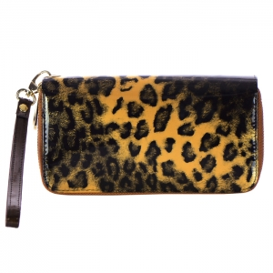 Double Zipper Leopard Print Genuine Patent Leather Wallet 33724 - Brown