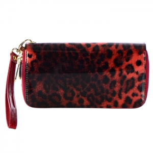 Double Zipper Leopard Print Genuine Patent Leather Wallet 33724 - Red