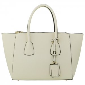 Designer Faux Leather Gold Accent Handbag with Hanging Charm  33778 - Beige