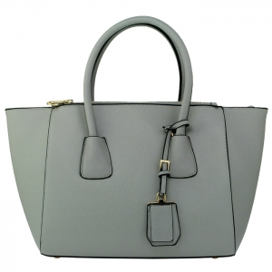Designer Faux Leather Gold Accent Handbag with Hanging Charm  33778 - Gray