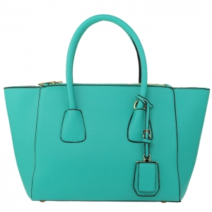 Designer Faux Leather Gold Accent Handbag with Hanging Charm  33778 - Turquoise