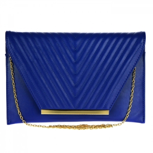 Faux Leather Flap Clutch 33808 - Blue