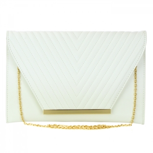 Faux Leather Flap Clutch 33808 - White