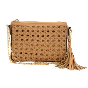 Quilted Faux Leather Clutch Purse 33815 - Natural