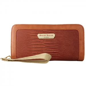 Bora Bora Faux Lizard Skin Leather Wallet with Wristlet 33848 - Mocha