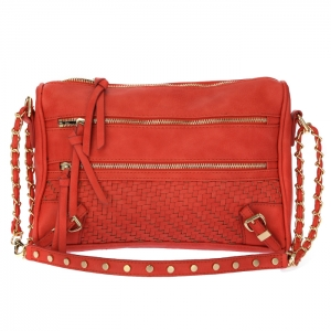 Urban Expressions Lila Woven Faux Leather Handbag 33855 - Coral