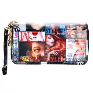 Double Zipper Magazine Print Patent Leather Wallet 33927 - A