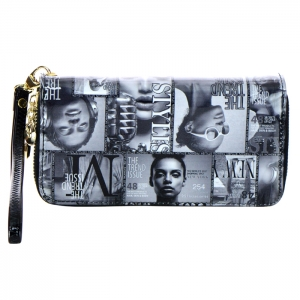 Double Zipper Magazine Print Patent Leather Wallet 33927 - Q