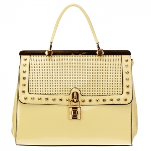 Perforated Patent Leather with Stud Rhinestones and Lock Accent 33932 - Beige