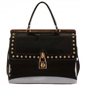 Perforated Patent Leather with Stud Rhinestones and Lock Accent 33932 - Black