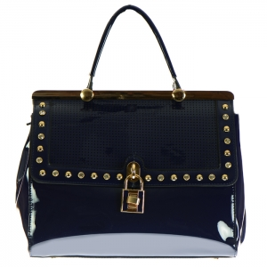 Perforated Patent Leather with Stud Rhinestones and Lock Accent 33932 - Blue